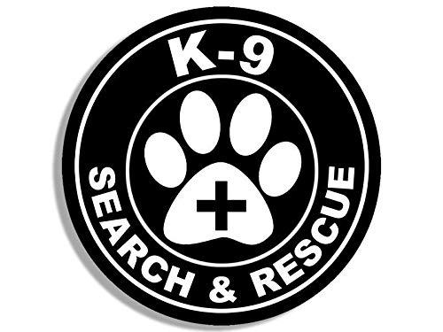 JR Studio 4x4 inch Round K-9 Search & Rescue Seal Sticker - Logo Decal Dog paw SAR Service Vinyl Decal Sticker Car Waterproof Car Decal Bumper Sticker