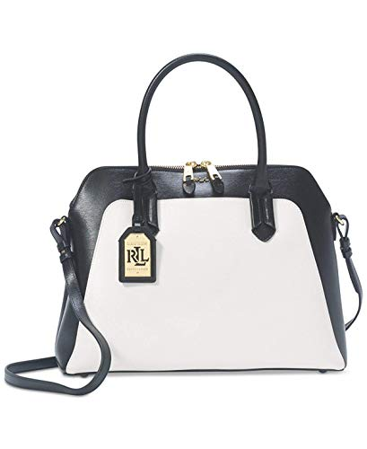 LAUREN Ralph Tate Colorblock Dome Satchel,Vanilla/Black
