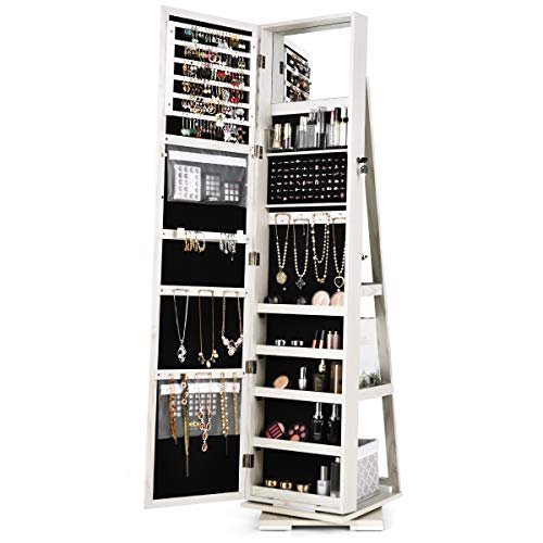 FANTASK 360°Rotating Jewelry Cabinet Armoire Lockable Freestanding Jewelry Organizer w Full Length Inner Mirrors Large Cosmetic Storage Capacity Shelves Armoire Cabinet for Dressing Make-up White