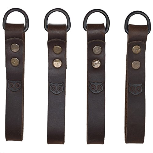Hide & Drink, Leather Heavy Duty Suspender Loop Attachment (4 Pack), Tool Belt Accessories, Thick, Durable, Fine Grain Leather, Vintage Style, Handmade Includes 101 Year Warranty :: Bourbon Brown
