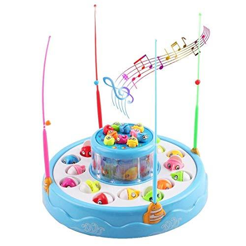 deAO Elektronische Zwei Ebene Angelspiel Set mit Lichtern und Musik-Funktionen - Enthält 4 Stangen und 26 Bunten Fischen (BLAU)