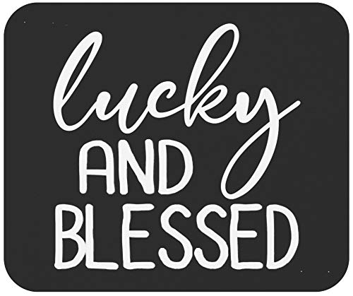 Christian Mousepad Mousemat - Jesus Quote Mousemat Lucky and Blessed Shamrock Christian St Patricks Day Gifts 9' Mouse Pad Mouse Mat Office Poster