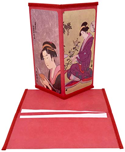 Set of 2 Japanese Rice Paper Wallets or Checkbook Cover 2 Different Designs Decorative Gift Box Included Style Group ''CC2''