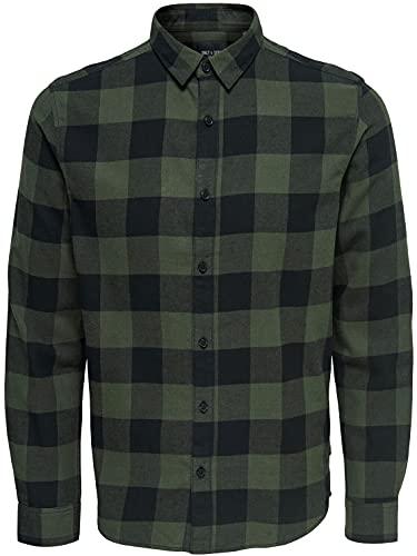 ONLY & SONS NOS Herren onsGUDMUND LS Checked Shirt NOOS Freizeithemd, Grün (Forest Night Forest Night), Large