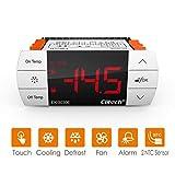 Elitech EK-3030E Régulateur de température numérique avec écran tactile, Thermostat à 2 relais, contrôle en sortie sortie réfrigération / chauffage, dégivrage et ventilateur, 2 sonde