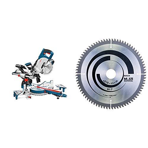Bosch Professional GCM 8 SJL Troncatrice Radiale + 2608640447 Lama Circolare, Multi-Material, 216 x 30 80D