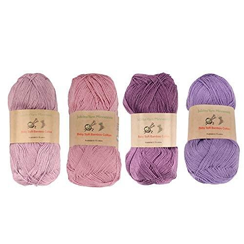JubileeYarn Baby Soft Bamboo Cotton Yarn - 50g/Skein - Shades of Purple - 4 Skeins