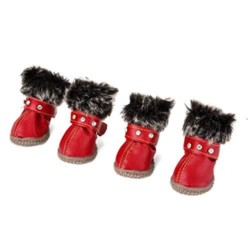 GOWINEU 4 Teile/sätze Hundeschuhe Welpen Winter Schneeschuhe Warme wasserdichte Beiläufige Hundeschuhe Haustier rutschfeste wasserdichte Schuhe