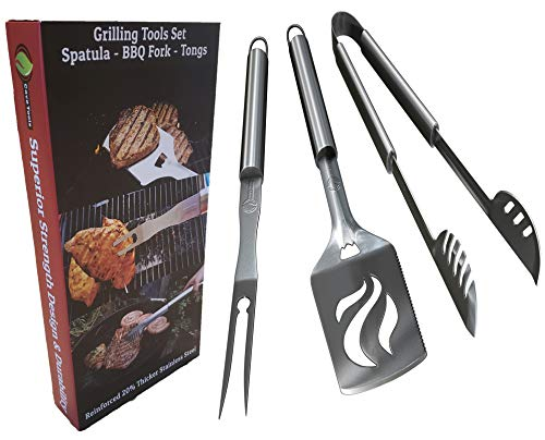 Grilling BBQ Tools Set - Heavy Duty 20% Thicker Stainless Steel - Professional Grade Barbecue Accessories - 3 Piece Utensils Kit Includes Spatula Tongs & Fork - Unique Birthday Gift Idea For Dad