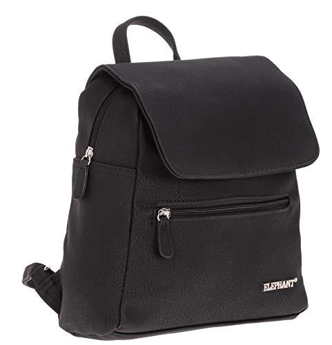 Elephant Rucksack Damen klein City 3185 Kunstleder backpack klein + Etui (Schwarz)