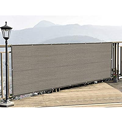 Amazon - 65% Off on 3′ x 16′ Balcony Screen Privacy Fence Beige Anthracite Cover UV Protection Weather-Resistant