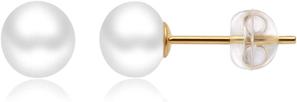 YMWO Pearl Stud Earrings for Women Button Pearl Earring for Girls 5.5mm-12mm