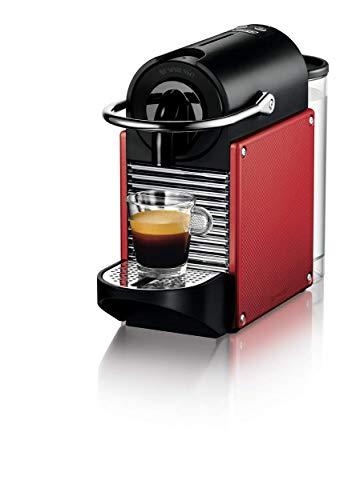 Nespresso Pixie Carmine Red EN 125R De'Longhi - Cafetera monodosis (19 bares, apagado automático, sistema calentamiento rápido), rojo carmín