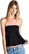 Loving People L.P. Women's Flared Tube Top Strapless Shirt, Large, Black
