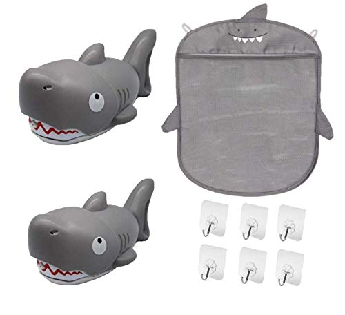 VidiGi Baby Bath Shark Toy Organizer | 2 Toys Squirt - Shooters Water Gun (2 shark) | 6 Adhesive Strong Hooks (5kg weight) | Kids Summer Toys for Beach Swimming Pool | Organizer for tub