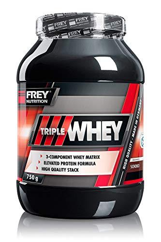 FREY Nutrition TRIPLE WHEY 750 g (Schoko) Whey-Protein - Trägt zur Muskelzunahme und zum Muskelerhalt bei - Hoher 30%iger Isolatanteil - Hoher BCAA-Anteil im Proteinrohstoff (23,8 g) - Made in Germany