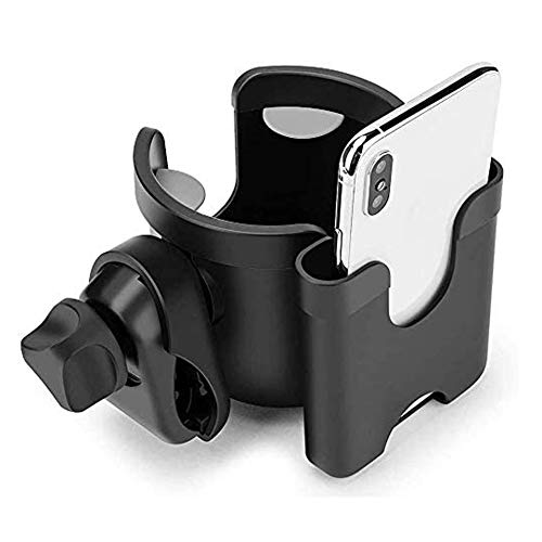 Stroller Cup Holder with Phone Organizer, 2-in-1 Universal Cup Holder, 360 Degrees Rotation Storage Rack for Stroller/ Pushchair/ Wheelchair/ Bike