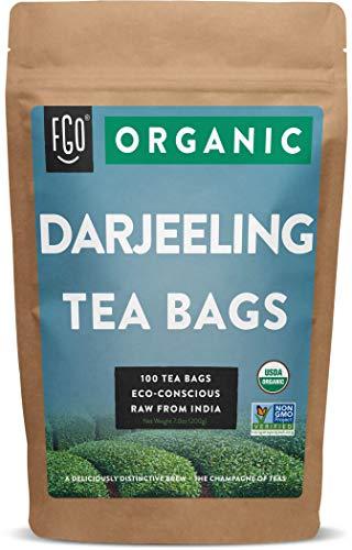 Organic Darjeeling Tea Bags   100 Tea Bags   Eco-Conscious Tea Bags in Kraft Bag   by FGO