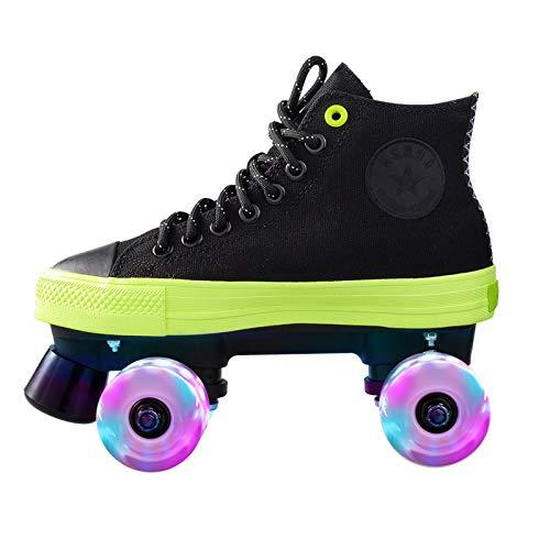BTYKJ Canvas Rollschuhe Zweireihige Skates Flash Rollschuhe Männer und Frauen Paar Leinwand Schuhe Erwachsene Rollschuhe Achtunddreißig Schwarz + Flash Rad