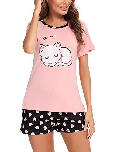 Irevial Mujer Pijamas de Verano, algodón Pijama a Gato,Ropa de Dormir de Manga Corta 2 Piezas,Suave y Cómodo