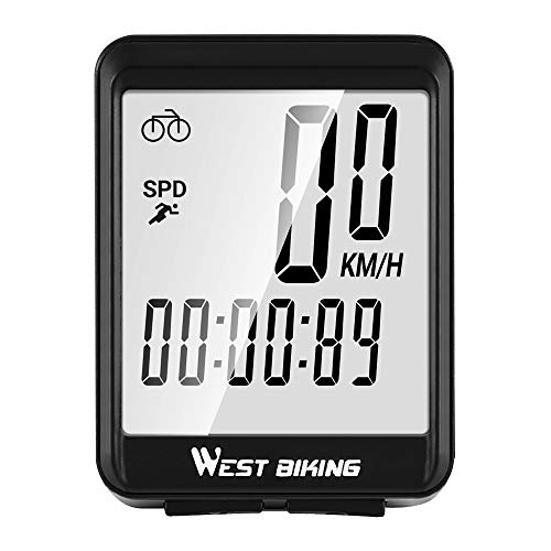 CS Force Bike Computer Wireless, Waterproof Bicycle Speedometer and Odometer with LCD Backlight Stopwatch & Automatic Wake-up