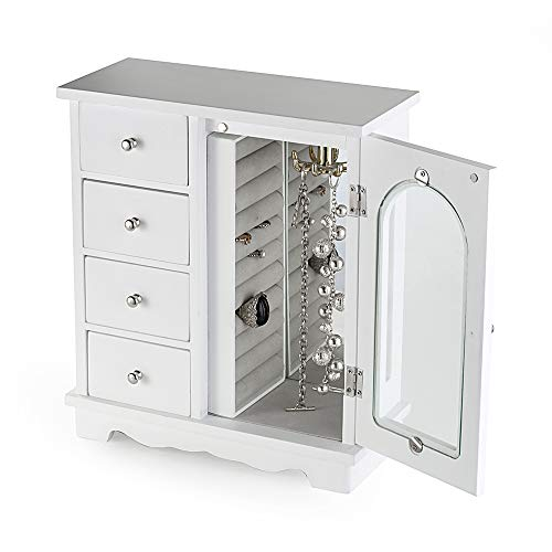 INART White Jewelry Box Wooden Makeup and Accessories Organizer Girls Ring Storage with 4 Drawers and Swing Door