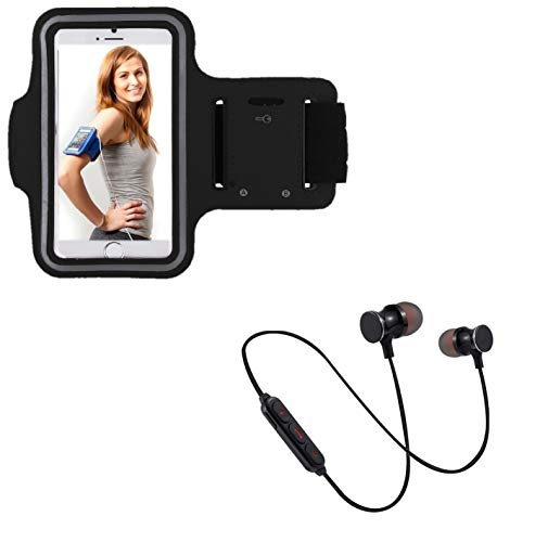 Pack Deportivo para Motorola Moto G7 Power Smartphone (Auriculares Bluetooth Metal + Brazalete) Courir T8 (Negro)