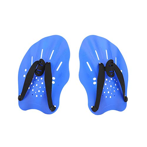 GASHER Contoured Swim Hand Paddles Swimming Training Paddles with Adjustable Straps Swimming Fins Blue