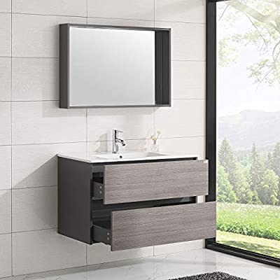 """WONLINE 36"""" Wall Mounted Bathroom Vanity Set Two Drawers Storage Cabinet with Ceramic Vessel Sink and Mirror Combo Chrome Faucet"""