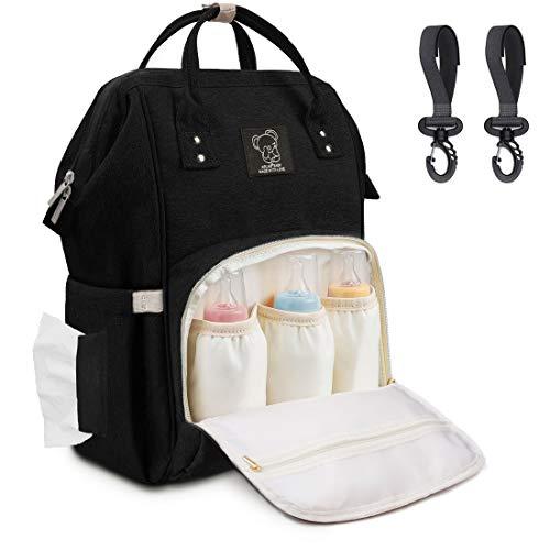 Wickelrucksack Baby Wickeltasche Groß mit Kinderwagenhaken, Multifunktionale Babytasche mit Großer Kapazität für Unterwegs, viele Fächer, Wasserabweisend, Schwarz