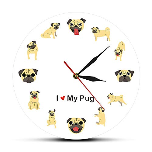 Amo a mi Perro Pug Diseño de Dibujos Animados Arte de la Pared Impreso acrílico Reloj de Pared...