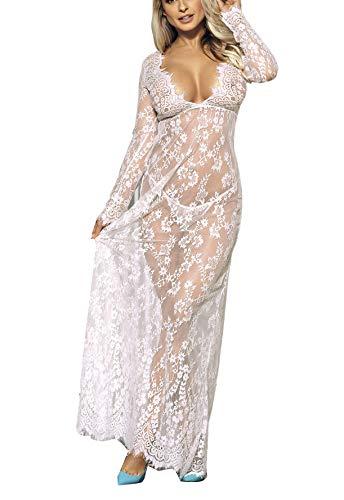 Marysgift Damen Dessous Nachtwäsche Babydoll Spitze Nachtwäsche Langes Kleid Überwurf Kleid EU 36-44 Gr. 42-44, weiß