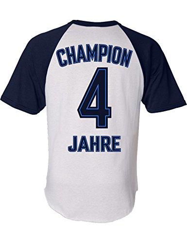 Geburtstags Shirt: Champion 4 Jahre - Sport Fussball Trikot Junge T-Shirt für Jungen - Geschenk-Idee zum 4. Geburtstag - Vier Vierter Jahrgang 2016 - Fußball Club Fan Stadion Mannschaft (116)