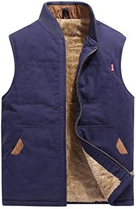 LYLY Vest Women Autumn Winter Men Vest Coat Warm Sleeveless Jacket Casual Men Vest Coat Fleece Army Green Waistcoat Big Size 6XL Vest Warm (Color : Blue Plus, Size : XL)
