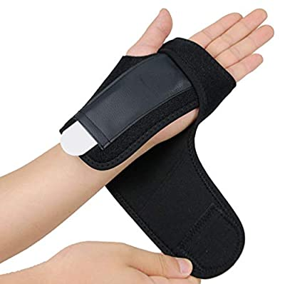 Gelible Hand & Wrist Brace Support, Removable Splint, Prevent Wrist Injury, Palm Band, Relieve for Carpal Tunnel Syndrome,Tendonitis and Arthritis Pain,One Size Fits Most, Black (Left)