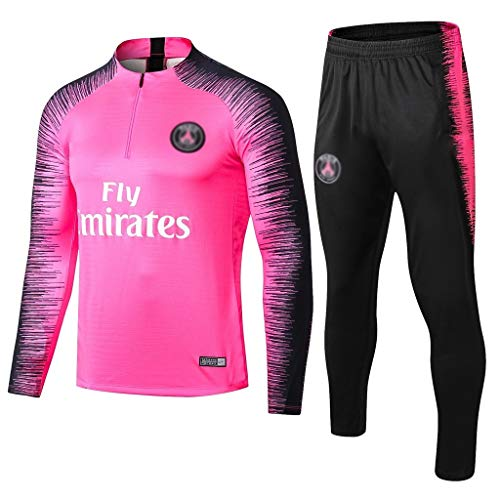 European Football Club Männer Fußball Sweatshirt Langarm Frühling und Herbst Breathable Sport Rosa Trainings-Uniform (Top + Pants) -ZQY-A0528 (Color : Pink, Size : XL)