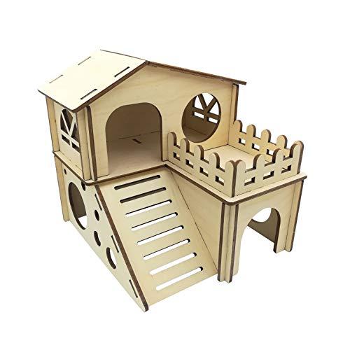HOLZBIBER® Großes Hamsterhaus Holz-Bausatz Birke für Mäuse kleine Hamster Made In Germany Spielhaus Holz Bausatz Kit Steckbausatz