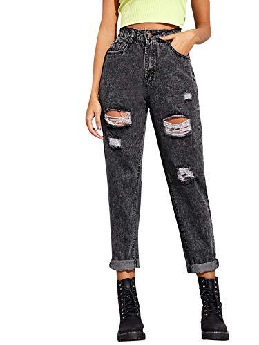 SweatyRocks Women's Ripped Boyfriend Jeans Distressed Denim Long Length Jeans Grey M