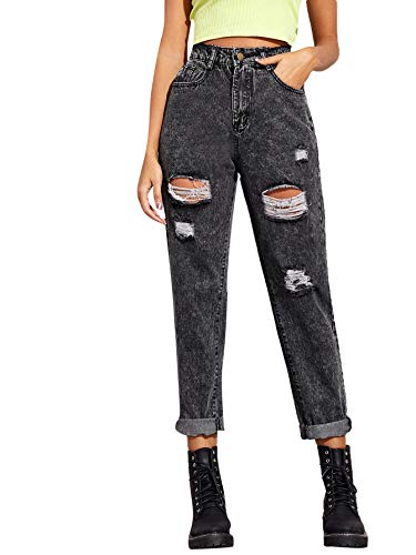 SweatyRocks Women's Ripped Boyfriend Jeans Distressed Denim Long Length Jeans Grey S