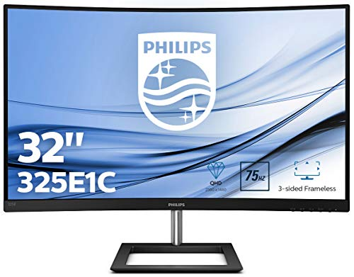 Philips 325E1C 80 cm (32 Zoll) Curved Gaming Monitor (HDMI, DisplayPort, 2560x1440, 75Hz, 4 ms Reaktionszeit, FreeSync) schwarz