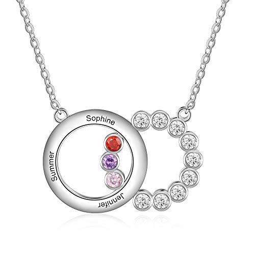 Lorajewel Sterling Silber Halskette Namenskette Choker Personalisierte Anhänger mit 3 Namen & 3 Simulierte Geburtssteinen Silberhalskette Damen Schmuck