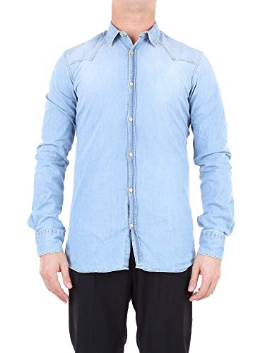 Aglini Luxury Fashion Herren 123295LIGHTBLUE Hellblau Elastan Hemd | Jahreszeit Outlet