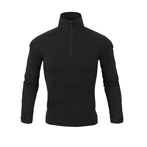 LANBAOSI Chemise de Combat Militaire Homme Airsoft Shirt Tenue Camouflage Uniforme Tactique Séchage Rapide à Manches imperméables Noir x-Large