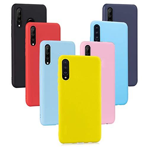 Meeter 7 × Funda Xiaomi Mi 9 SE, Carcasa Fina TPU Flexible Cover para Xiaomi Mi 9SE (Negro+ Rojo+ Azul Oscuro + Rosa + Lavanda + Amarillo + Azul Cielo)