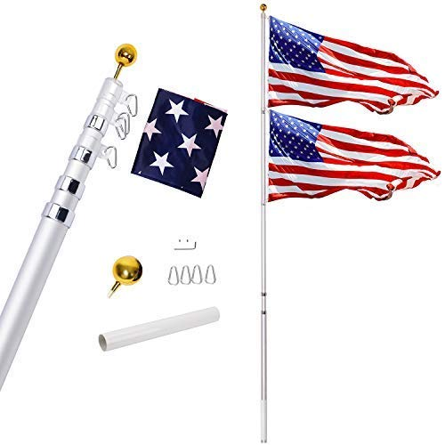 Gientan 25FT Telescopic Flag Pole Kit 3x5 US Flag, Heavy Duty 16 Gauge Aluminum American Inground Telescoping Flagpole Set Stainless Steel Clips Commercial Residential, Silver