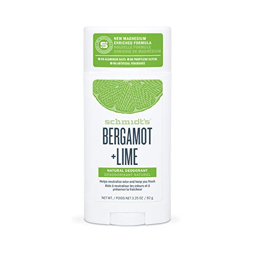 Schmidt's Aluminum Free Natural Deodorant for Women and Men, Bergamot + Lime with 24 Hour Odor Protection, Certified Cruelty Free, Vegan Deodorant Without Aluminum, 3.25 oz