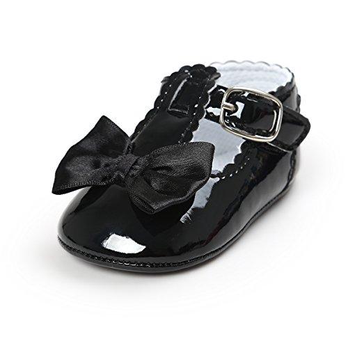 Meckior Infant Baby Girls Soft Sole Bowknot Princess Wedding Dress Mary Jane Flats Prewalker Newborn Light Baby Sneaker Shoes