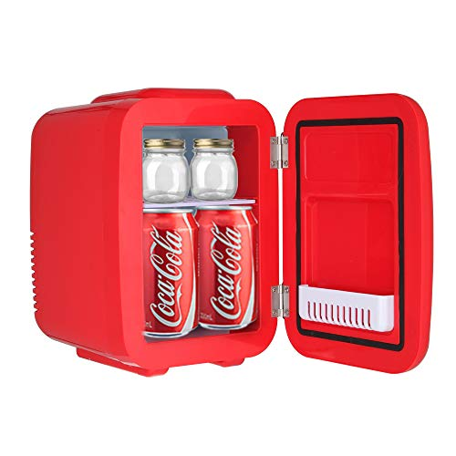 Aoerte Mini Fridge 5 Liter/6 Can AC/DC Portable Thermoelectric Cooler and Warmer for Skincare, Breast Milk, Foods, Medications, Bedroom and Travel, Red