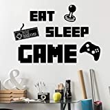 Game Wall Decals Eat Sleep Game Wall Stickers for Boys Room, Video Game Wall Decor Posters Creative Peel and Stick Gaming Wallpaper for Boys Room Playroom