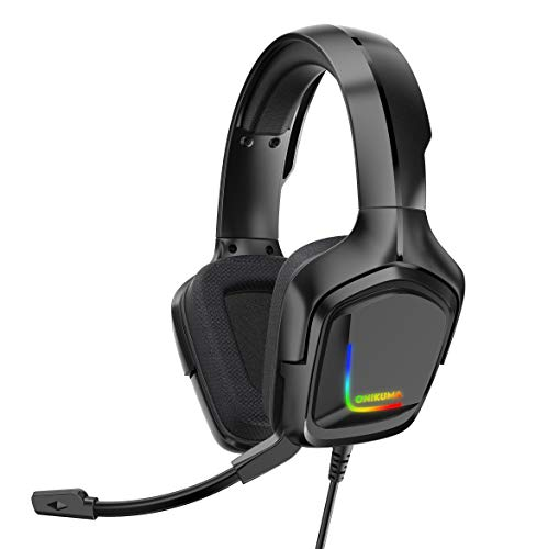 Gaming Headset K20 3.5mm Wired Gaming Headset Surround Sound Headset, Volume Control E-Sports Headset with Microphone, Suitable for PC Laptop PS4 Smartphone